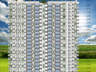 fachada principal : Casas multifamiliares de estilo  por OBS DISEÑO & CONSTRUCCION.