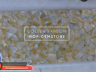 Golden Mother of Pearl slabs- height stones luxury Height Stones Classic style dining room Stone Yellow