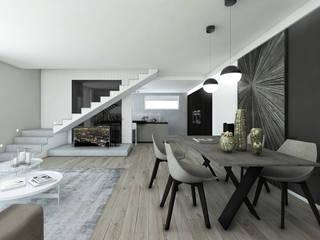 Zona Living luminosa : Sala da pranzo in stile  di Bfarredamenti