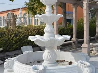Pure White Marble Fountain: modern  by Grp Marbles,Modern