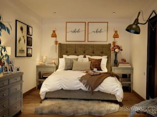 студия Design3F Eclectic style bedroom Beige