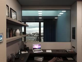 Визуализация жилого помещения в таунхаусе, 2 этаж, в самом центре Москвы: Рабочие кабинеты в . Автор – Антон Булеков,