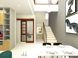Rumah Krembangan SEKALA Studio Ruang Makan Modern Batu Bata White