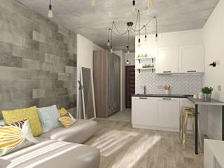 ЖК Комфорт Таун Гостиная в стиле лофт от E.KAZADAEVA. Interior design Лофт