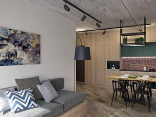 ЖК Синергия Гостиная в стиле лофт от E.KAZADAEVA. Interior design Лофт