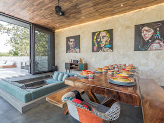 Villa Lagu Tulum Comedores tropicales de Obed Clemente Arquitectura Tropical Madera Acabado en madera