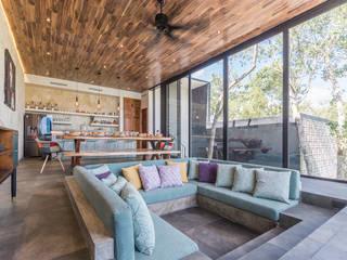Villa Lagu Tulum Salones tropicales de Obed Clemente Arquitectura Tropical Concreto