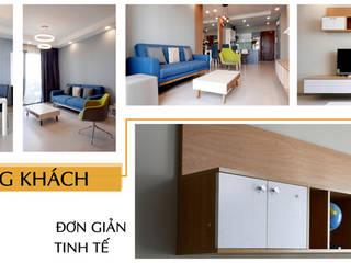 Thiết kế thi công nội thất căn hộ chung cư Goldview Quận 4:  Phòng khách by Công ty TNHH Nội Thất Sense Home