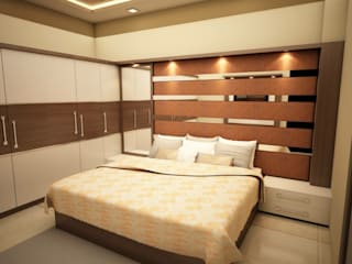 3bhk Rustomjee Azziano guest bedroom design by kumar interior thane:   by KUMAR INTERIOR THANE