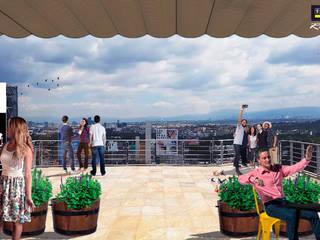Rooftop Corportivo Karcher México Balcones y terrazas modernos de 2M arquitectos Moderno