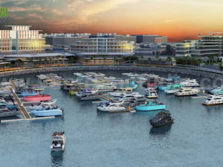 Beach Side Hotel Design with Yacht Station Developed by Yantram 3D Exterior Design Companies, Dubai - UAE Yantram Architectural Design Studio