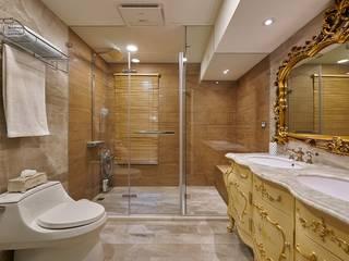 法式古典洗手台,西班亞木紋磚:   by 歐式藝廊法式新古典設計