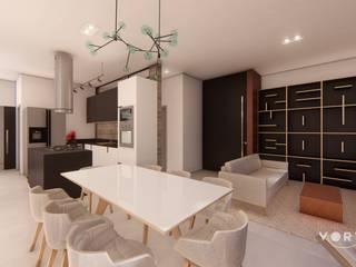 3 ambientes em 1 : Salas de jantar  por Vortice Arquitetura