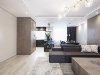 Mieszkanie minimalisty Minimalistyczny salon od Lew Architekci & Archideck Minimalistyczny