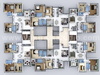 Creative 3D Floor Plan Design of Entire Apartment Floor Developed by Yantram Architectural Animation Studio, Brisbane - Australia Yantram Architectural Design Studio Klasik