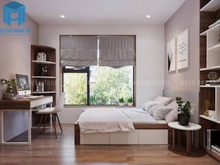 Nội thất phòng ngủ nhỏ cho con trai với thiết kế khá đơn giản bởi Công ty TNHH Nội Thất Mạnh Hệ Hiện đại
