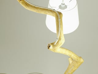 Floor lamp with natural oak branches, Art, wild oak Meble Autorskie Jurkowski SalonesIluminación Madera Blanco