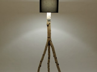 Floor lamp made of birch branches Meble Autorskie Jurkowski ComedorIluminación Madera Negro