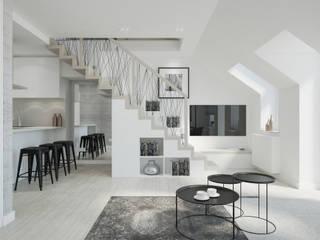 Skandynawski projekt mieszkania : styl , w kategorii Salon zaprojektowany przez Lew Architekci & Archideck