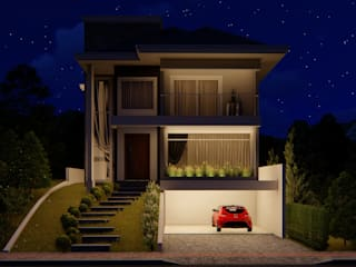 Fachada noturna: Casas  por Fran Arquitetura