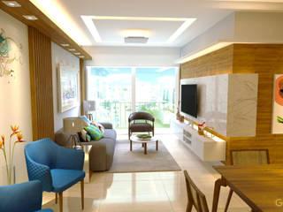Projeto Arquitetura de interiores  | Reforma Apartamento: Salas de estar  por Gelker Ribeiro Arquitetura | Arquiteto Rio de Janeiro