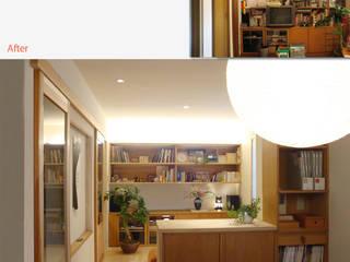 『紫竹の家』 LDK: 一級建築士事務所 ネストデザインが手掛けたリビングです。,