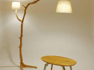 Floor lamp, lamp of weathered old Oak branch Meble Autorskie Jurkowski Endüstriyel