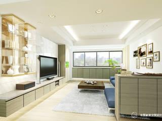 老屋翻新-住宅空間。台北【內湖-L宅】:  客廳 by 有關創意室內設計