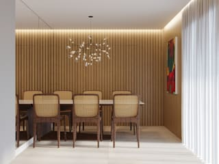 Sala de Estar|Jantar contato: arquitetura@beecriativa.com.br: Salas de jantar  por Bee Arquitetura Criativa