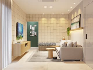 Sala de Estar|Jantar contato: arquitetura@beecriativa.com.br: Salas de estar  por Bee Arquitetura Criativa