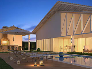 Casa de Praia contato: arquitetura@beecriativa.com.br: Casas  por Bee Arquitetura Criativa