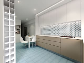 MIA arquitetos Small kitchens Engineered Wood Blue