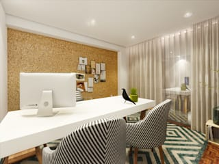MIA arquitetos Modern Study Room and Home Office MDF Green
