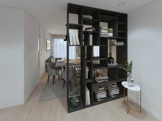 MIA arquitetos Pasillos, vestíbulos y escaleras de estilo moderno Tablero DM Negro