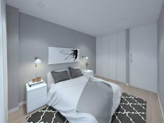 MIA arquitetos Camera da letto piccola MDF Bianco