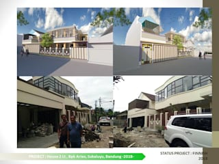 DESIGN DAN PENGEMBANGAN RUMAH TINGGAL 2LT DI SIDOMULYO Dinding & Lantai Modern Oleh ARCHDESIGNBUILD7 Modern