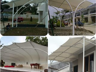 Tenda membrane sebagai estetika bangunan Eazy Hurip Sentosa Balconies, verandas & terraces Accessories & decoration Bahan Sintetis White
