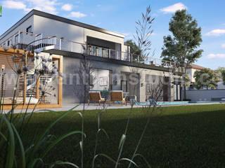 Modern 3D Exterior Villa Rendering Developed by Yantram Architectural Visualisation Studio, Liverpool - UK Yantram Architectural Design Studio Modern