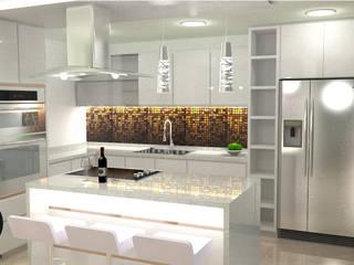 cocina blanca tipo isla de DECOESCALA ARQ JHON LEAL Moderno