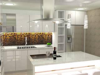 cocina blanca tipo isla de DECOESCALA ARQ JHON LEAL Minimalista