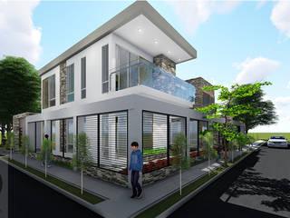 VIVIENDA UNIFAMILIAR Balcones y terrazas de estilo moderno de DECOESCALA ARQ JHON LEAL Moderno