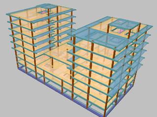Imagem 3D da estrutura da edificação:   por Screenproject Consulting Engineers, Lda