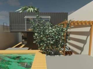 Fachada Frontal casa contêiner: Casas pré-fabricadas  por Oria Arquitetura & Construções