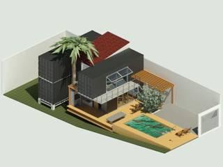 Volumetria casa contêiner: Casas pré-fabricadas  por Oria Arquitetura & Construções