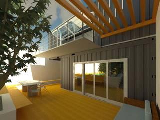 Fachada Contêiner: Casas pré-fabricadas  por Oria Arquitetura & Construções