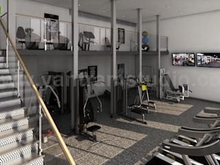 Best 3D Interior Design of Apartment with Gym Developed by Yantram Architectural Design Home Plans, Boston - USA Modern Fitness Odası Yantram Architectural Design Studio Modern