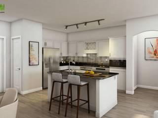 Best 3D Interior Design of Apartment with Gym Developed by Yantram Architectural Design Home Plans, Boston - USA Modern Mutfak Yantram Architectural Design Studio Modern