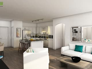Best 3D Interior Design of Apartment with Gym Developed by Yantram Architectural Design Home Plans, Boston - USA Modern Oturma Odası Yantram Architectural Design Studio Modern