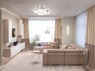 Интерьер четырёхкомнатной квартиры в ЖК «Мирный» Гостиная в стиле минимализм от ИнтеРИВ Минимализм