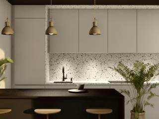 PROJEKT WNĘTRZA KAWALERKI 35 m kw., Gdynia, Mały Kack: styl , w kategorii Kuchnia zaprojektowany przez STTYK - Pracownia Architektury Wnętrz i Krajobrazu